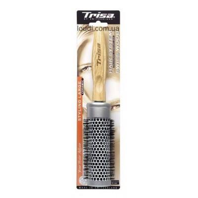 Щетка для укладки круглая с деревянной ручкой Trisa Hair System Swiss Wood Brush