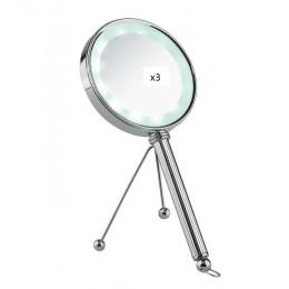 Двухстороннее настольно-ручное зеркало с LED подстветкой